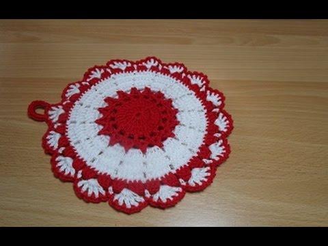 Uncinetto Presine.Uncinetto Crochet Centrino Bianco Rosso Presina Youtube