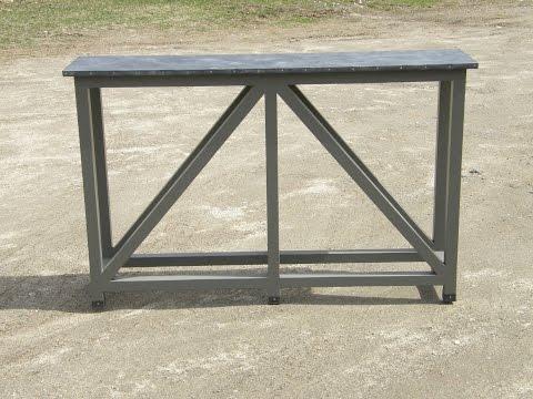 Console Table Zinc Top Custom Base