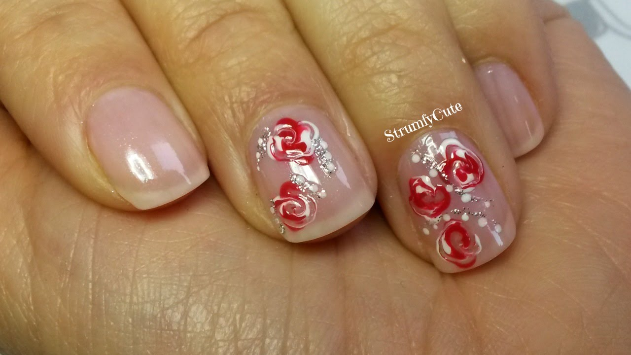 Tutorial Modele Unghii Diy Roses For Valentines Day Youtube