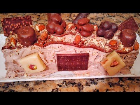 bûche-de-noël-roulée-gourmande-nutella,-ganache-chocolat,-amandes