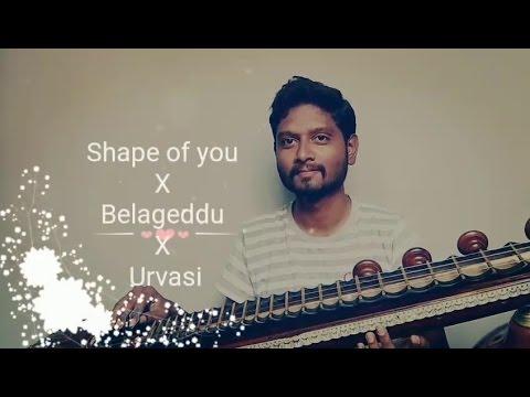 Shape Of You   Belageddu   Urvasi   Veena Cover   Mahesh Prasad