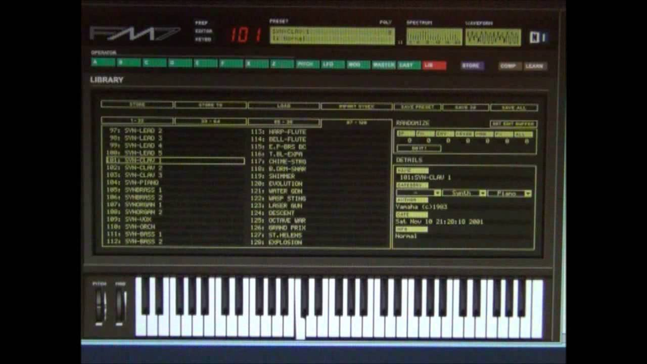 Yamaha DX7 Emulator Software - FM7 - Patch - 100 Syn Clav 1