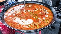 Cooking Two Giant Spanish Paellas. Seafood and Chicken. Street Food of Brick Lane, London