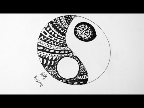 Draw With Me Zentangle Yinyang Sign Doodle Youtube