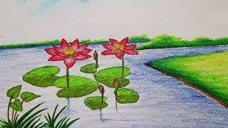 How to draw waterlily.Step by step(easy draw)