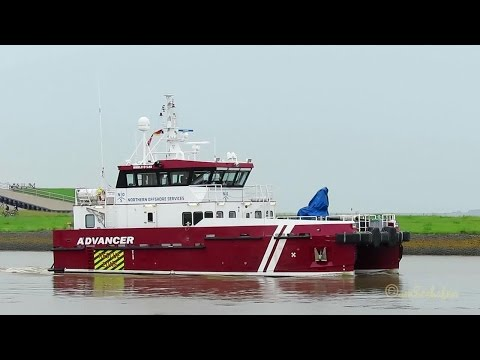 offshore crew boat ADVANCER OWMI2 IMO 9686429 outbound Emden