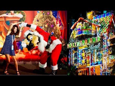 disney's-hollywood-studios-~-sunset-seasons-greetings-~-christmas-~-hollywood-tower-hotel-show