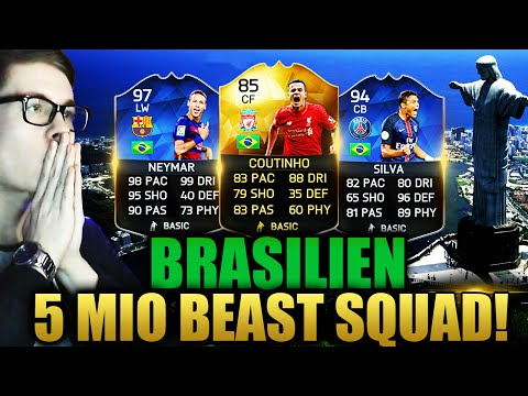 FIFA 16: OMFG 5 MIO BRAZIL BEAST SQUAD BUILDER (DEUTSCH) - FIFA 16 ULTIMATE TEAM - NEYMAR TOTY & CO!
