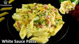 White Sauce Pasta   Penne Pasta in White Sauce with Veggies  Yummylicious Pasta