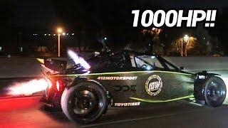 CRAZY TWIN TURBO LS3 1000HP GO KART - STREET RACING!!