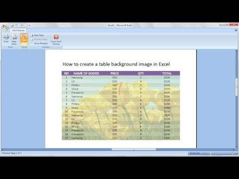 Microsoft excel training  How to create a table with a background picture in excel