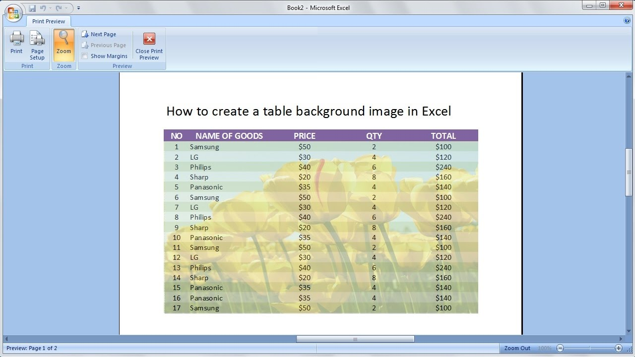 Microsoft Excel Training How To Create A Table With A Background