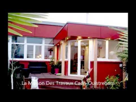 Superbe v randa avec rev tement trespa rouge et terrasse en bois exotique youtube - La veranda caen ...