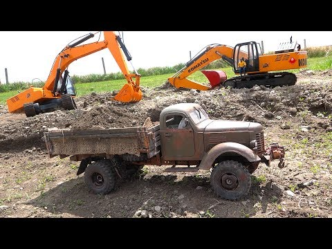 RC ADVENTURES - Heavy Load Tips Work Truck - 1943 KR11 International Loaded by Excavator