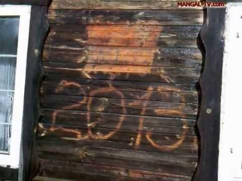 Очистка стены деревянного дома от плесени, олифы и краски  ЧАСТЬ 1