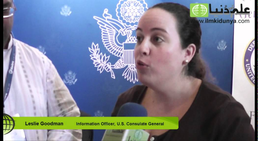Leslie Goodman Information officer (AIRC) at Education Expo from U S  Consulate Lahore
