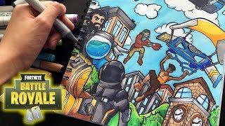 EPIC FORTNITE DRAWING!!   Fortnite Battle Royal Copic Marker Illustration   Shrimpy