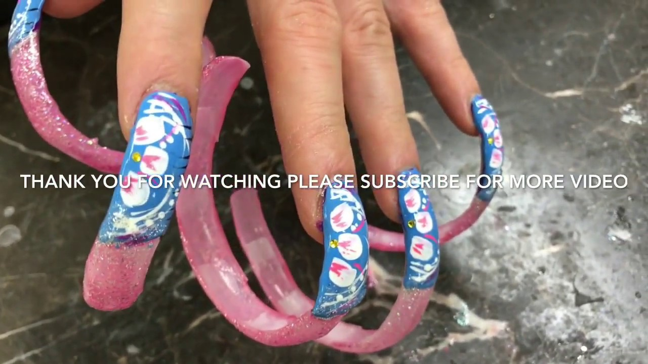 Blue flowery nail art designs on long long acrylic nails - Blue Flowery Nail Art Designs On Long Long Acrylic Nails - YouTube
