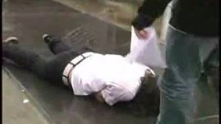 fat guy tries to ollie a massive stairs and fails badly!