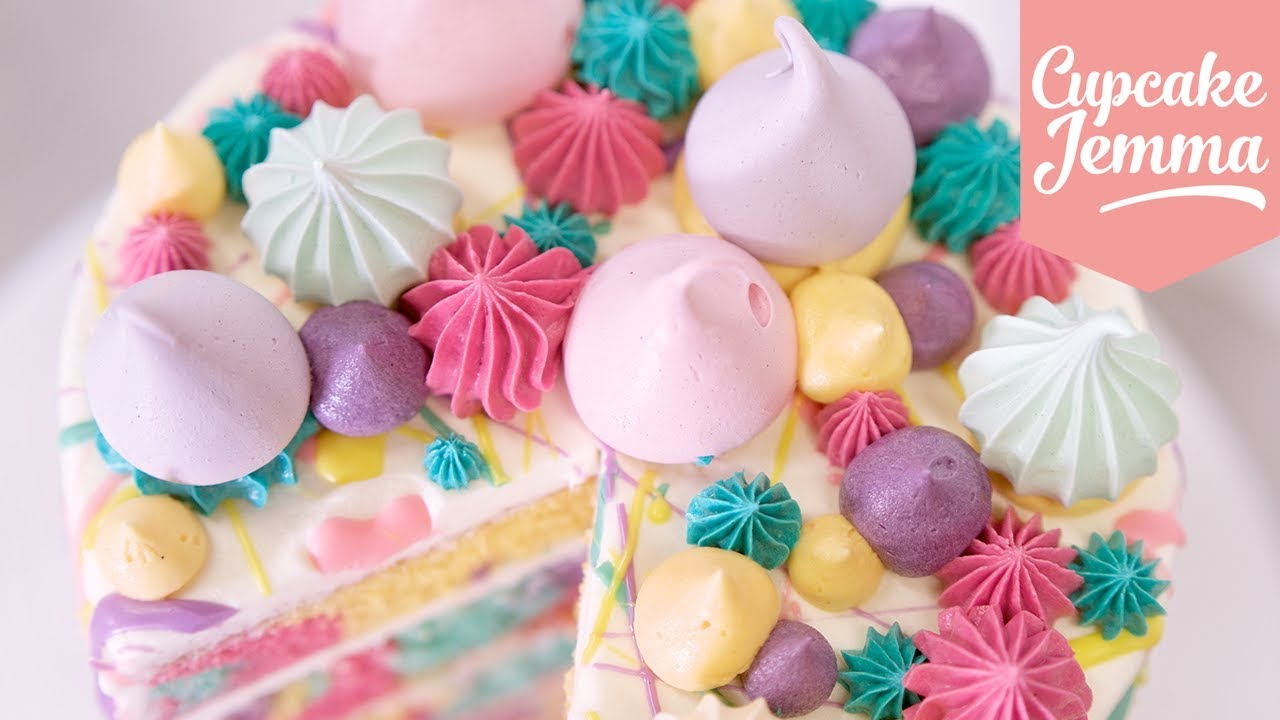 Cupcake Jemma Cake Recipe: Rainbow Pastel Marble Splat Cake!