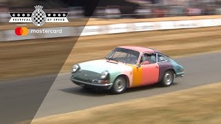 Wild Paul Smith rainbow Porsche 911 hill climb