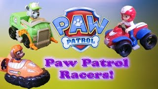 PAW PATROL Nickelodeon Rocky, Ryder, and Zuma Racers Toys Video Unboxing