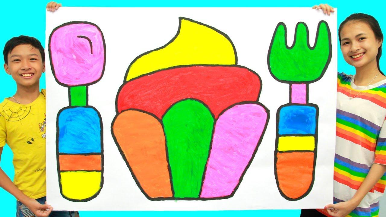 Menggambar dan Mewarnai Mainan Set Alat Makan & Kue untuk Anak-anak