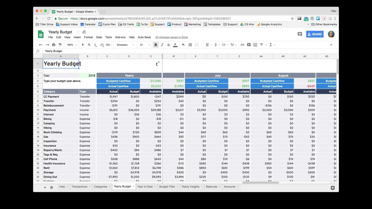 get started with the tiller yearly budget spreadsheet youtube