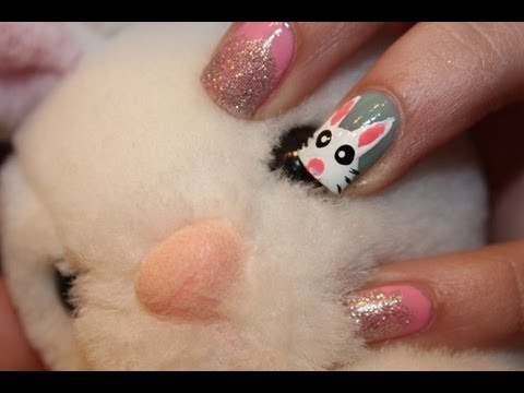 simple bunny nail art tutorial for easter ♡  youtube