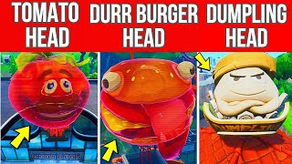 Dance Inside A Holographic Tomato Head, Holographic Durr Burger Head And On Top Giant Dumpling Head