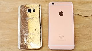 Samsung Galaxy S7 Edge vs iPhone 6S Plus Drop Test!(Samsung Galaxy S7 Edge Drop Test VS iPhone 6S Plus Drop Test. Just How Durable Is The New S7 Compared To 6S?, 2016-03-02T04:37:22.000Z)