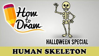 How To Draw A Human Skeleton - Halloween Special - Easy Drawing Lesson With Colouring(How To Draw A Human Skeleton (cartoon), Halloween Special easy step by step drawing lesson tutorial for Kids, adults and beginners MAGICBOX ANIMATION ..., 2015-10-20T04:00:01.000Z)