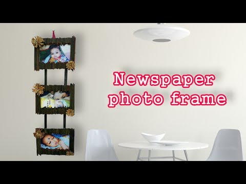 Newspaper photo frame || DIY Craft Ideas-best out of waste-Newspaper photo frame-DIY Photo Frame