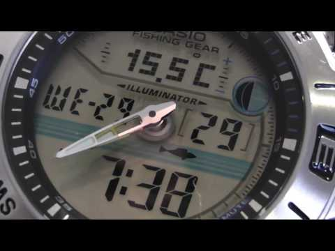 2S Time - CASIO Fishing Gear AMW-702-7 Moon Data Temperature World Time Watch