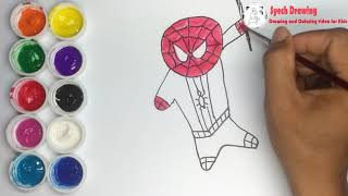 Draw and Coloring Cute Spiderman