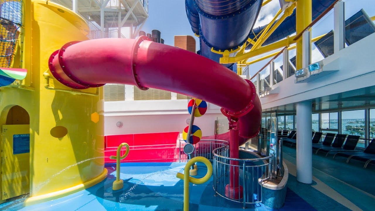 Norwegian Escape Red Body Slide Waterslide On NCL Cruise Ship - Cruise ship slide