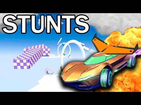 ROCKET LEAGUE MULTIPLAYER STUNT MAP! RACE TO THE FINISH!
