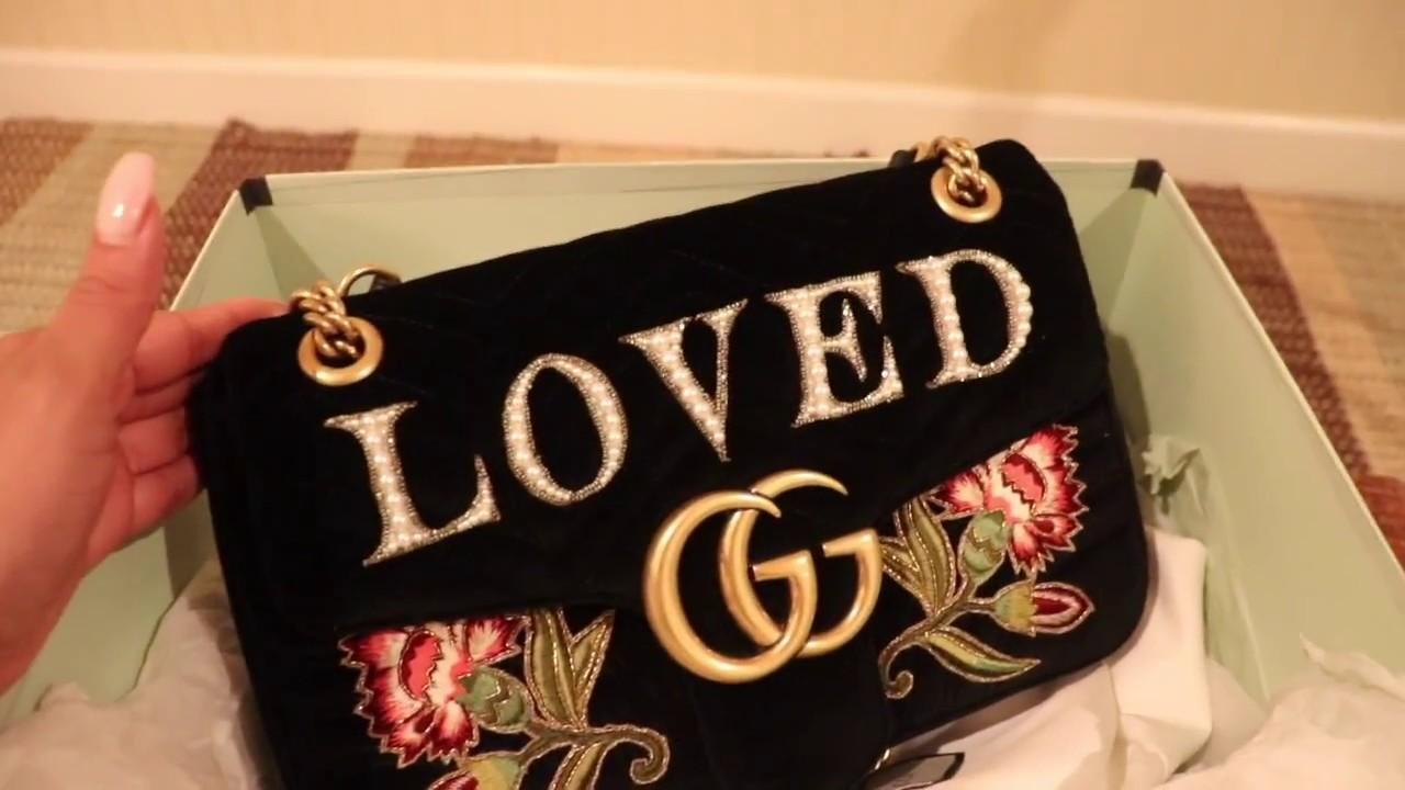 842890695bde Gucci Embellished Velvet  Loved  Marmont bag Review - YouTube