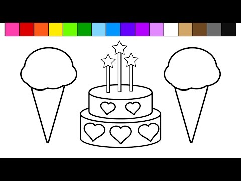Thumbnail: Color Ice Cream Heart Birthday Cake Coloring Pages for Kids and Learn Colors!