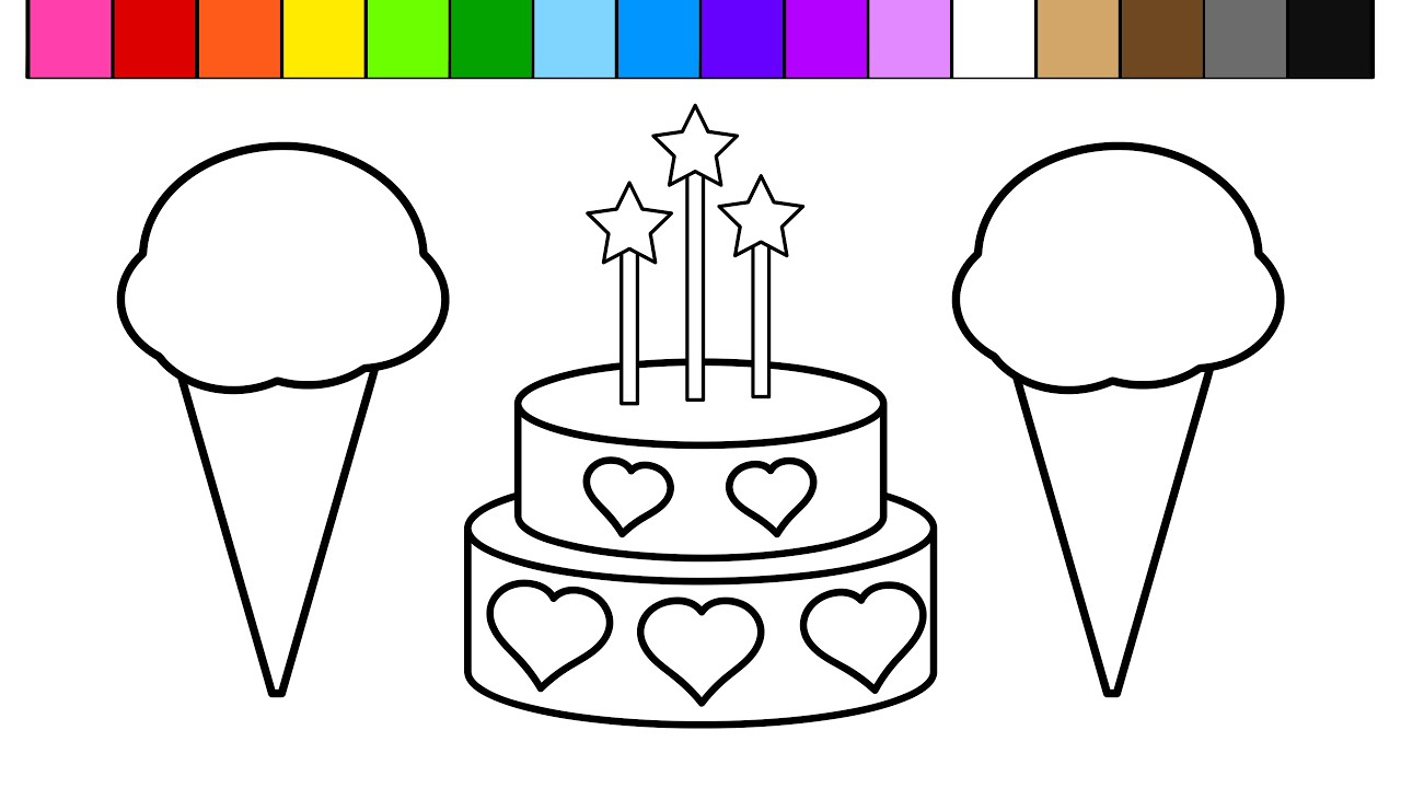 Colouring in birthday cake - Color Ice Cream Heart Birthday Cake Coloring Pages For Kids And Learn Colors Youtube