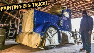 Painting the Wrecked 379 Peterbilt in a Barn!