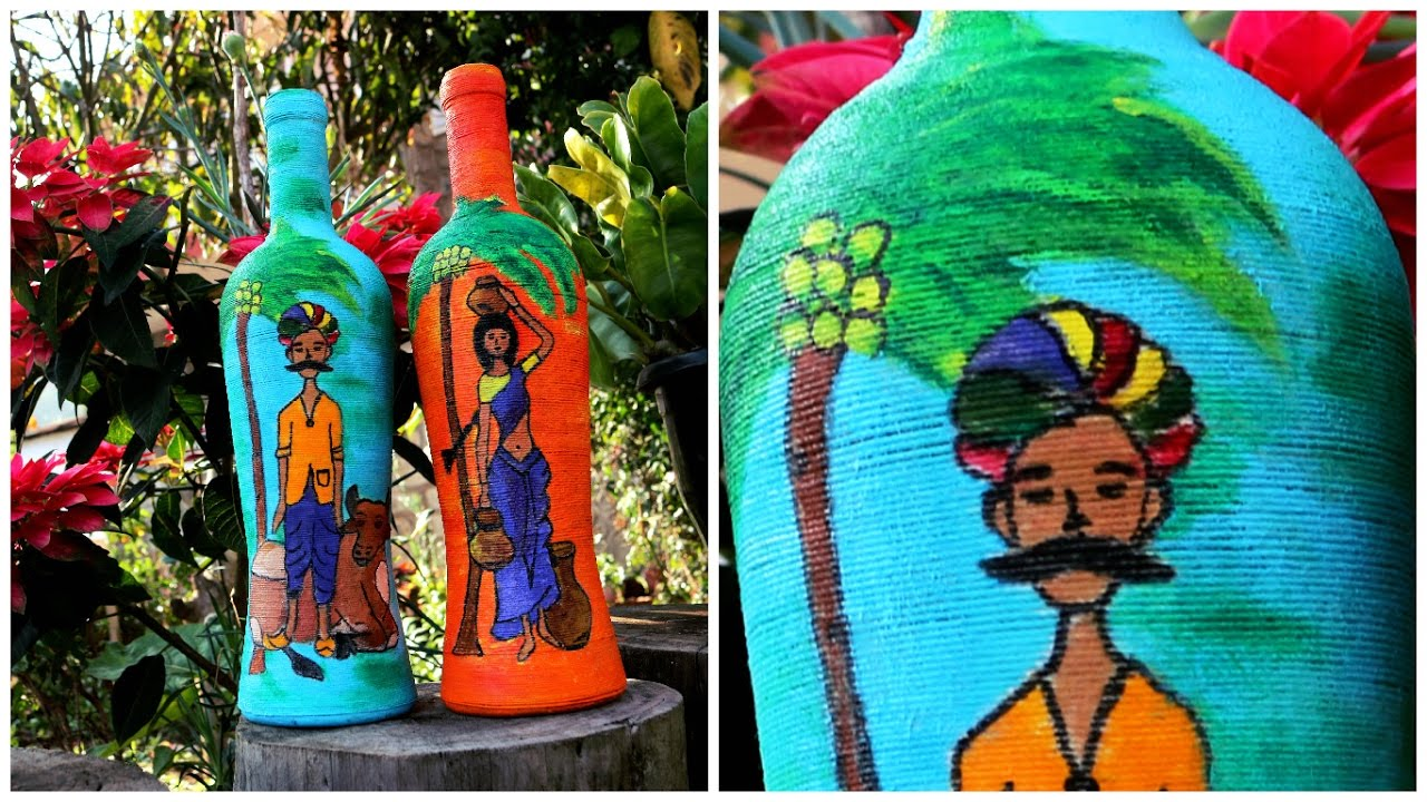Wine bottle decor -DIY   Yarn wrapped bottles  Indian couple ...