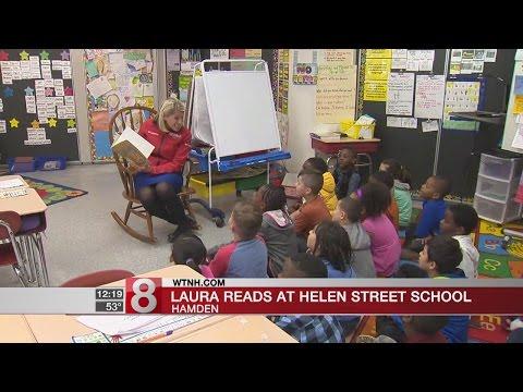 News 8's Laura Hutchinson reads at Helen Street School