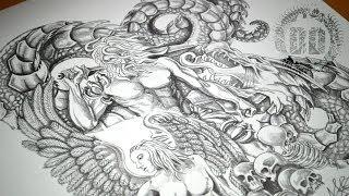 Warrior, Angel & Dragon Tattoo Design - Speed Drawing
