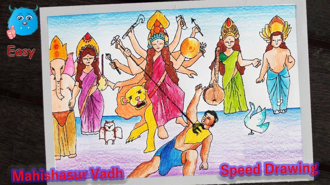 Goddess Durga Mahishasur Vadh Speed Drawing Scenery For