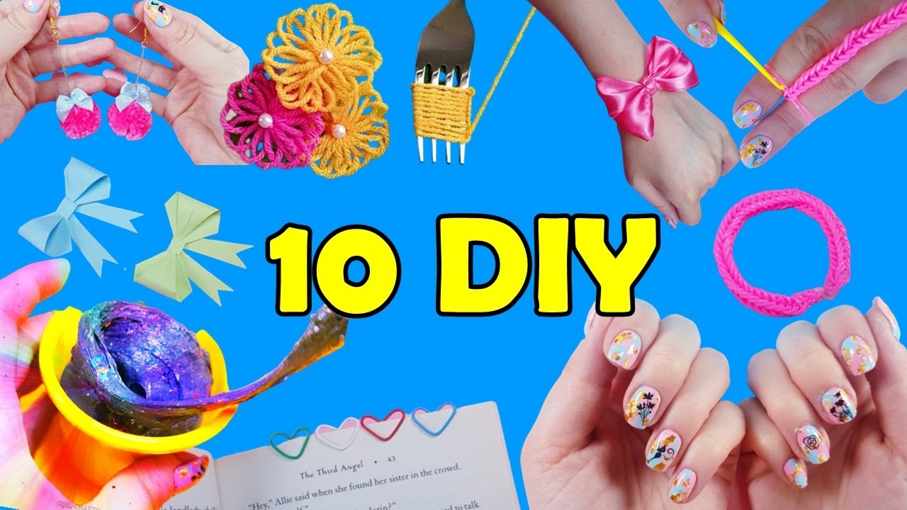 10 Things To Do When You're Bored At Home - Nail art, Slime, Bracelet and more..