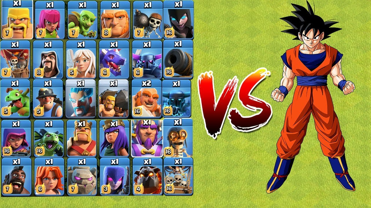 Who Can Survive? COC All Troops VS GOKU   Clash Of Clans   New Troops 2018