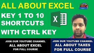 EXCEL SHORT CUTS WITH KEY 1 TO 10 WITH CTRL KEY IN EXCEL | EXCEL TIPS AND TRICKS | ALL ABOUT EXCEL |
