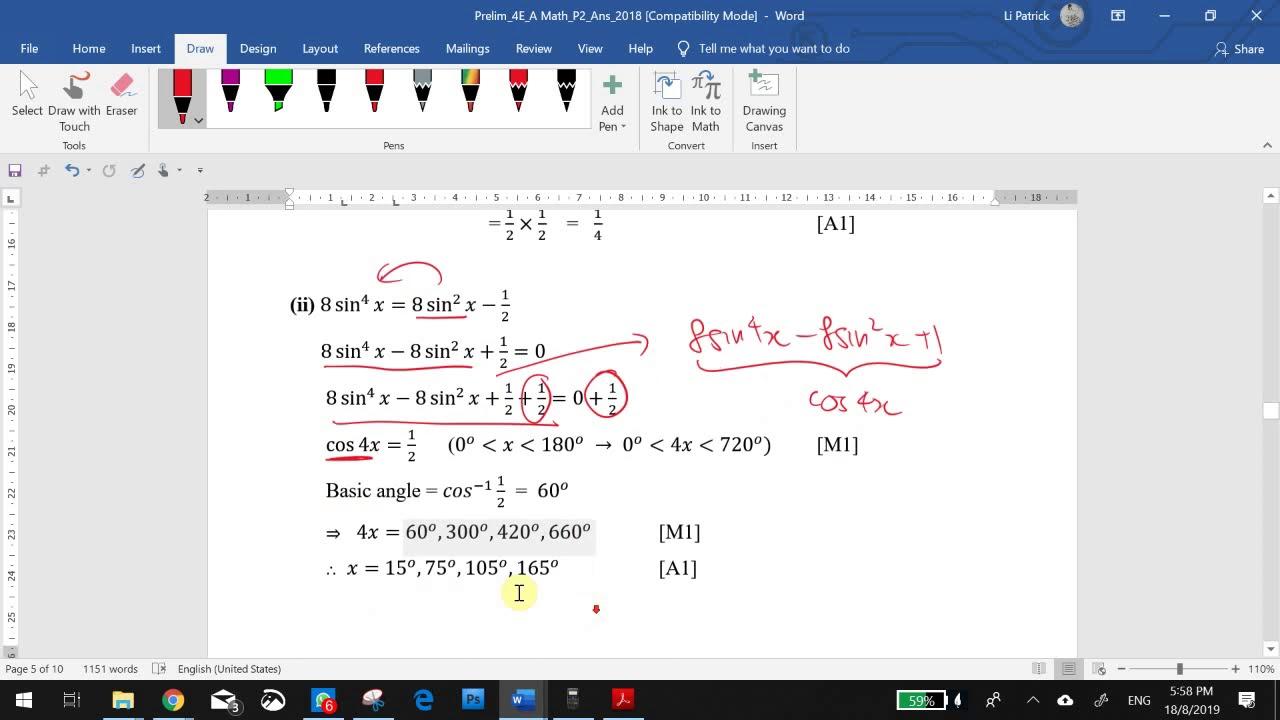 Going through JQ A Math Prelim 2019