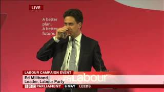 Ed Miliband speech at pre-election rally in Leeds